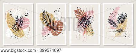 Pastel Compositions From Colored Tropical Leaves And Branches, Decorative Vector Trendy Posters Bota