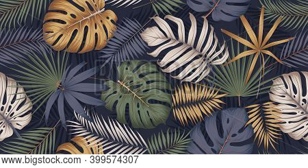 Seamless Multicolored Pattern With Exotic Tropical Plants, Monstera Leaves And Palm Trees, Exotic Bo