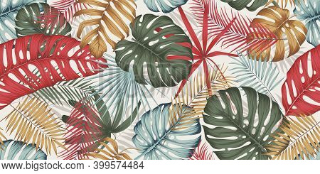 Seamless Pattern With Colorful Leaves, Branches And Various Plants From The Tropics And Jungle On A