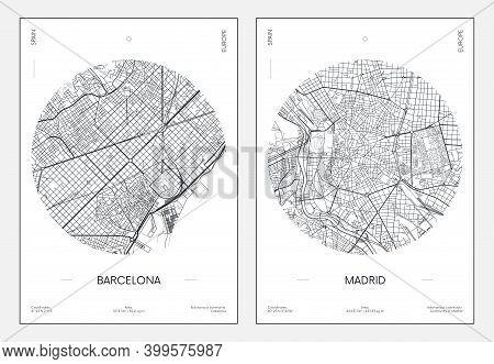 Travel Poster, Urban Street Plan City Map Barcelona And Madrid, Vector Illustration
