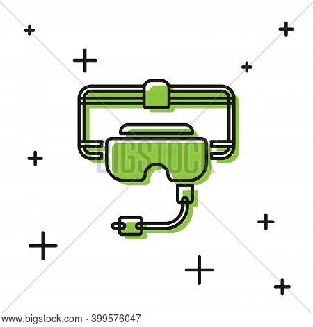 Black Virtual Reality Glasses Icon Isolated On White Background. Stereoscopic 3d Vr Mask. Vector