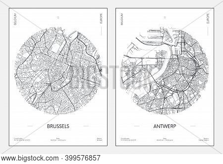 Travel Poster, Urban Street Plan City Map Brussels And Antwerp, Vector Illustration