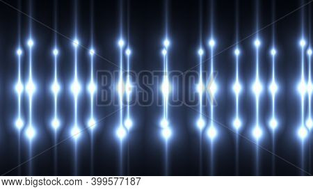 Computer Generated Bright Flood Lights Background With Round Particles And Gold Glow. 3d Rendering O