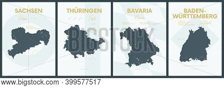 Vector Posters With Highly Detailed Silhouettes Maps States Of Germany - Sachsen, Thüringen, Bavaria