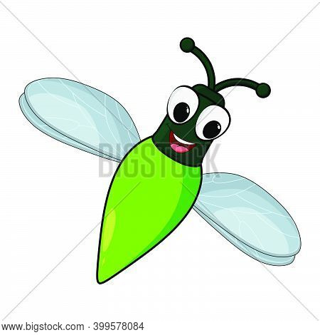 Firefly Insect Cartoon Illustration Isolated On White Background. Skylight Bug With Glowing Abdomen.