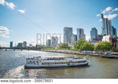 Frankfurt, Germany - June 12, 2019: Street view of Downtown Frankfurt, Germany.