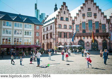 Frankfurt, Germany - June 12, 2019: Old Town of Frankfurt am Main, Germany.