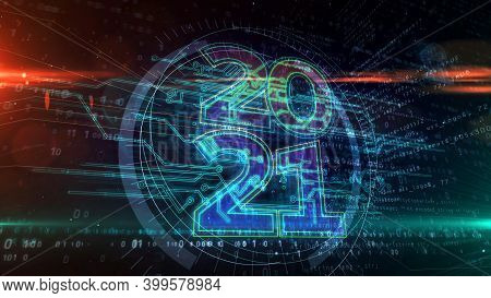 2021 Year Abstract Concept 3D Illustration