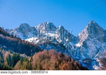 Snowy Mountain Peak. Triglav National Park (triglavski Narodni Park), Slovenia, Europe