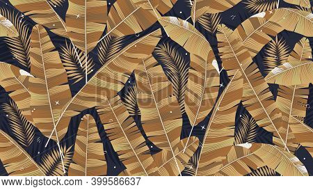 Seamless Pattern With Golden Leaves Of Banana Palm On A Dark Background, Composition Of Tropical Pla