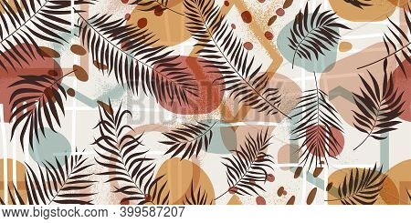Seamless Pattern Compositions With Geometric Shapes And Exotic Tropical Leaves In Pastel Colors, Vec