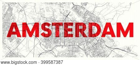 City Map Amsterdam, Detailed Road Plan Widescreen Vector Poster