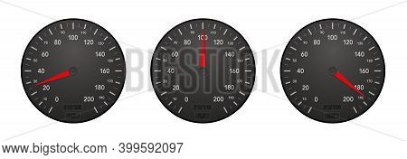 Speedometers Showing Slow, Moderate And Fast Velocity. Three Displays With Different Tempos - Drivin