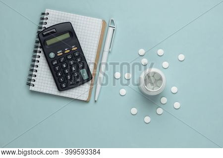 Economic Calculation Of The Cost Of Treatment, Analysis Of The Cost Of Medicines. Bottle Of Pills, C