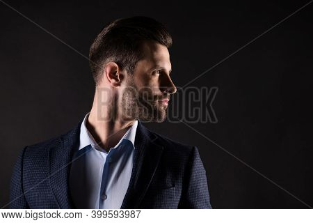 Close-up Profile Side View Portrait Of His He Nice Attractive Successful Well-groomed Guy Banker Fin