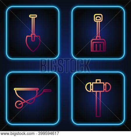 Set Line Sledgehammer, Wheelbarrow, Shovel And Snow Shovel. Gradient Color Icons. Vector