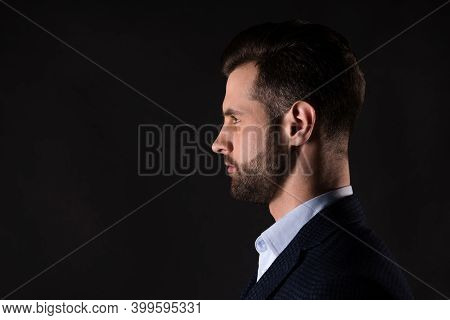 Close-up Profile Side View Portrait Of His He Nice Attractive Man Executive Top Employee Director Co