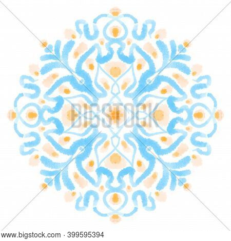Watercolor Painting Ornamental Block. Blue Pastel Decorative Design Element, Isolated Texture Art On