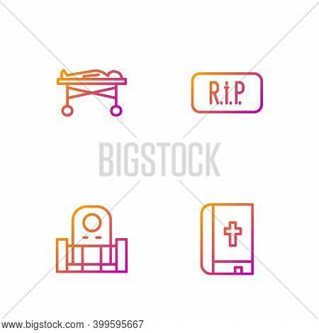 Set Line Holy Bible Book, Grave With Tombstone, Dead Body In The Morgue And Speech Bubble Rip Death.