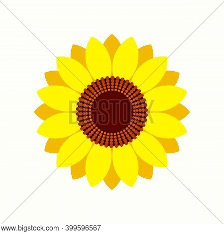 Geometric Sunflowers Icon On White Background. Flat Style. Sun Flowers Icon For Your Web Site Design
