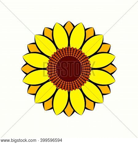Sunflower Icon Vector Isolated. Yellow Sunflower Blossom Nature Flower Illustration For Summer And L