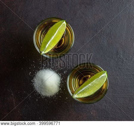 Tequila With Lime And Salt. Alcoholic Beverages. Bar