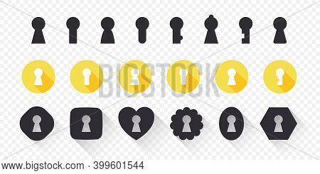 Keyhole Icons Set. Concept Icons. Trendy Design. Lock Icons. Keyhole Vector Icons Isolated On White