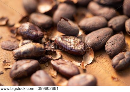 Cocoa Shell Out Of Cocoa Roasted For Making A Cocoa Nib And Hot Cocoa And Chocolate. Selective Focus