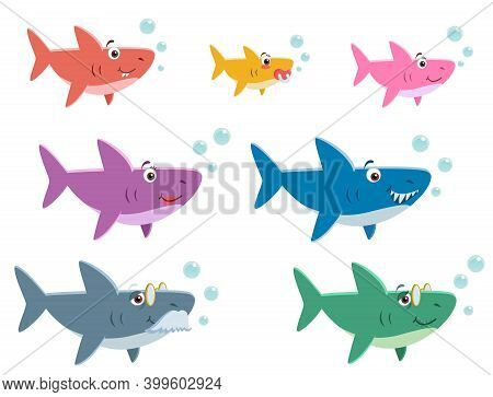 Family Shark Set Of Colorful Cartoon Fish Character Isolated On White Background. Baby, Mama, Papa,