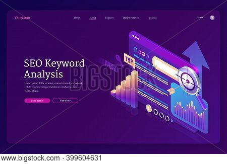 Seo Keyword Analysis Banner. Research And Analytics Of Search Engine Optimization Of Content. Vector