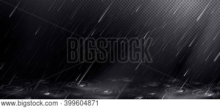 Rain, Falling Water Drops And Puddle Ripples On Transparent Background. Shower Droplets, Storm Or Do