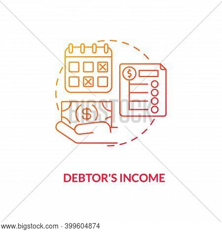 Debtor Income Red Gradient Concept Icon. Monthly Credit Repayment. Borrower Budget. Debtor Accountin
