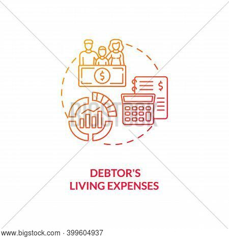 Debtor Living Expenses Red Gradient Concept Icon. Financial Crisis. Calculate Income And Expenditure