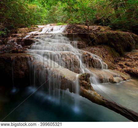 Beautiful waterfall at Erawan national park, Kanchanaburi Province in west Thailand.