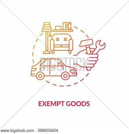 Exempt Goods Red Gradient Concept Icon. Duty Free Supply. No Vat Charge For Product. Low Cost. Save