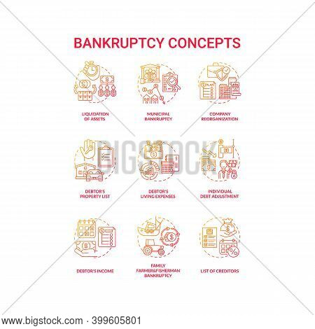 Bankruptcy Red Gradient Concept Icons Set. Economic Difficulty. Debtor And Creditor Contract. Financ