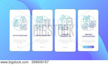 Creditor And Debtor Dark Blue Onboarding Mobile App Page Screen With Concepts. Banking. Financial Cr