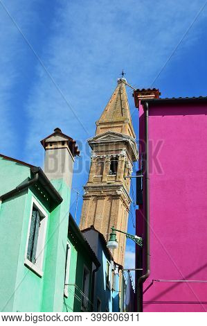Colorful Houses On The Famous Island Burano, Venice. Venice And The Venetian Lagoon Are On The Unesc