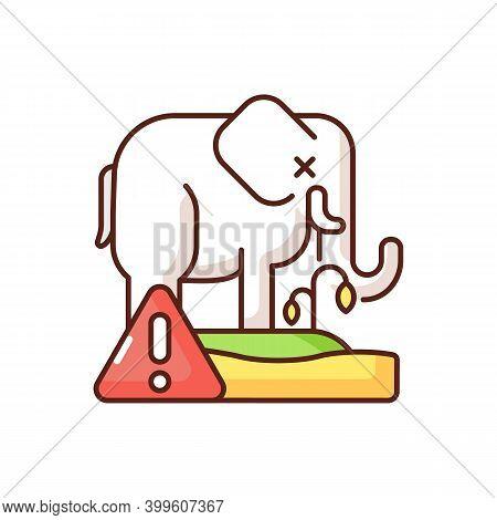 Biosphere Extinction Rgb Color Icon. Idespread And Rapid Decrease In Biodiversity On Earth. Killing
