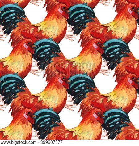 Seamless Pattern With Watercolor Image Of Cock. Hand Drawn Illustration Isolated On White Background