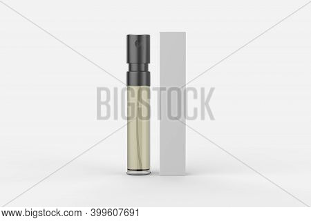 Perfume Atomizers Template Realistic Spray Case For Fragrance. Open Packaging Isolated On White Back