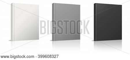 Blank Book Mockup White, Grey, Black With Shadow Isolated On White. Illustration 3d Rendering.