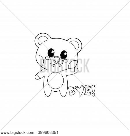 Isolated Happy Bear Cartoon Saying Bye. Vector Illustration