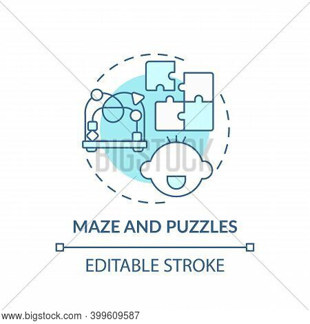 Maze And Puzzles Turquoise Concept Icon. Toy To Develop Cognitive Skill. Baby Plays. Early Childhood
