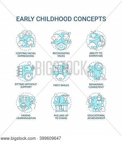 Early Childhood Development Turquoise Concept Icons Set. Developmental Milestones. Baby Growth. Chil