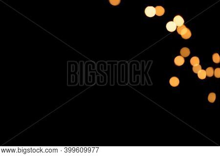 Christmas Background Overlay. Abstract Christmas Dark Background With Defocused Garland. Defocused C
