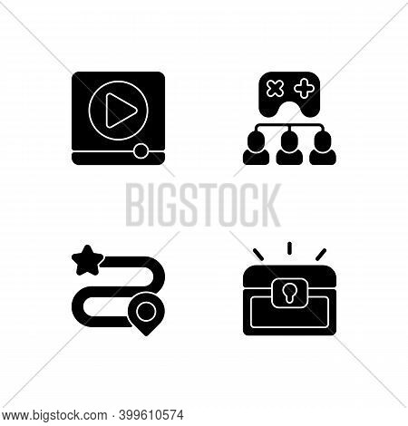 Video Gaming Black Glyph Icons Set On White Space. Watching Ads, Multiplayer Mode, Game Progress And