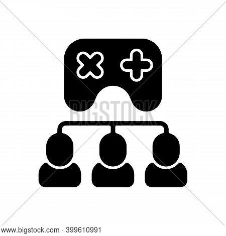 Tournament Black Glyph Icon. International E Sports, Videogame Championship Silhouette Symbol On Whi