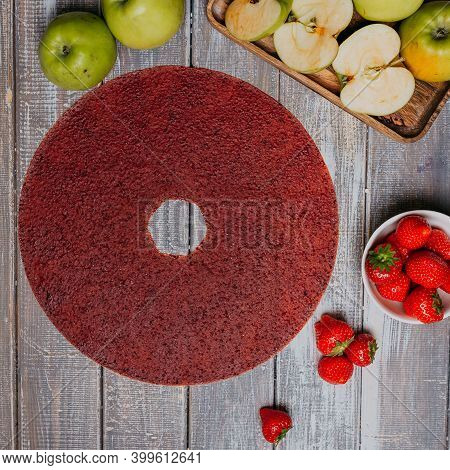 Strawberry Fruit Leather With Fresh Fruits On The Wooden Table. Round Fruit Leather. Healthy Food. A