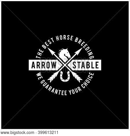 Simple Beauty Horse Ranch Stable Stallion With Cross Arrow Logo Design